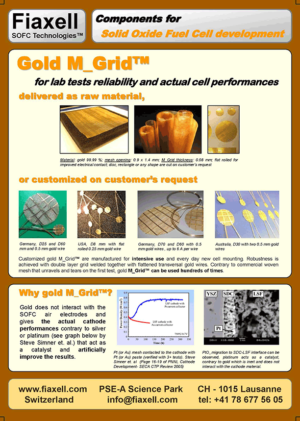 Fiaxell SOFC Technologies - Gold M_Grid™