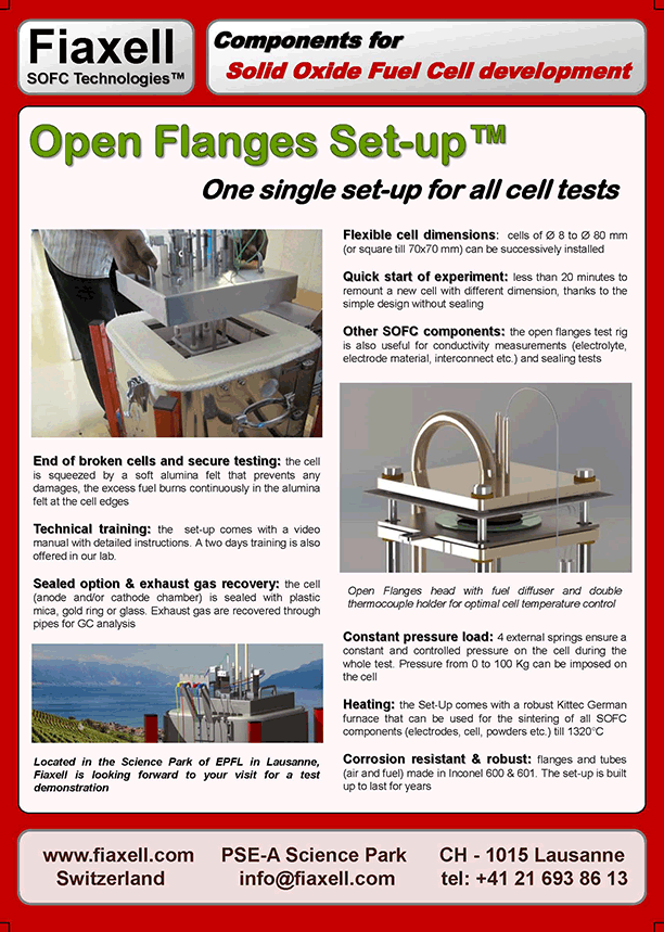 Fiaxell SOFC Technologies - Open Flanges™, a setup for all